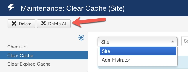 joomla36 update Delete All Cache