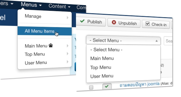joomla36 update all menu item