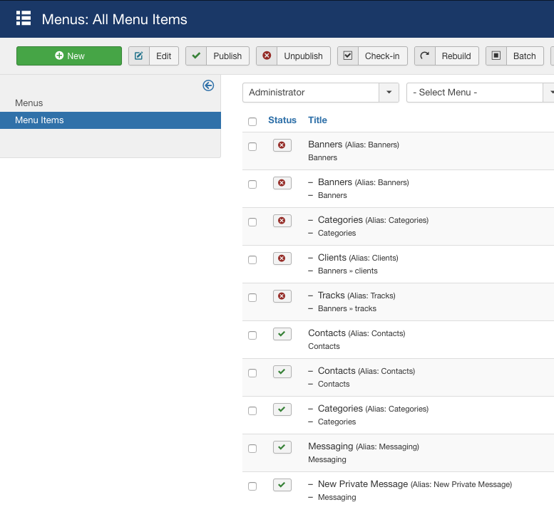 joomla 37 a2 Backend Admin Menu Manager