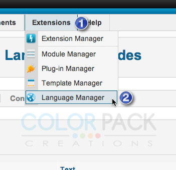 ไปที่ Extensions >> Language Manager