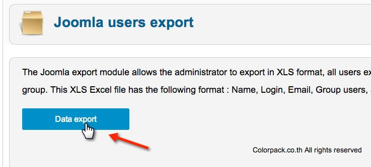joomla user export excel data export