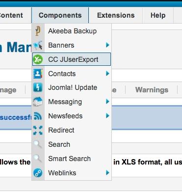 joomla user export excel menu